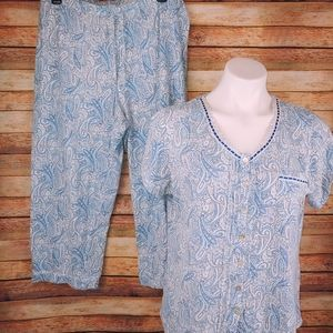 Aria blue white paisley capri pajama set Lg